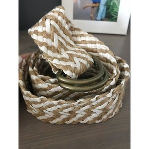 Accessories - Straw/Faux Leather Braided Belt